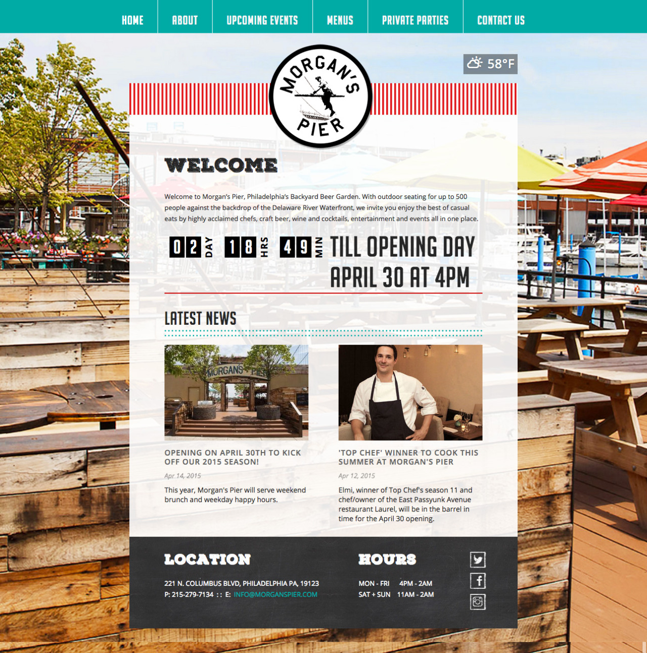 Website for Morgan's Pier