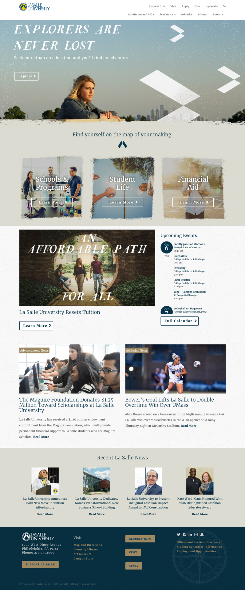 Homepage Design for La Salle University